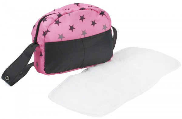Wickeltasche für Puppenwagen (Sternchen Grau-Rosa)