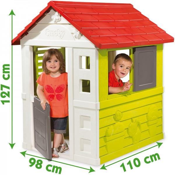 Spielhaus Natur Haus (Grün-Weiß-Rot)