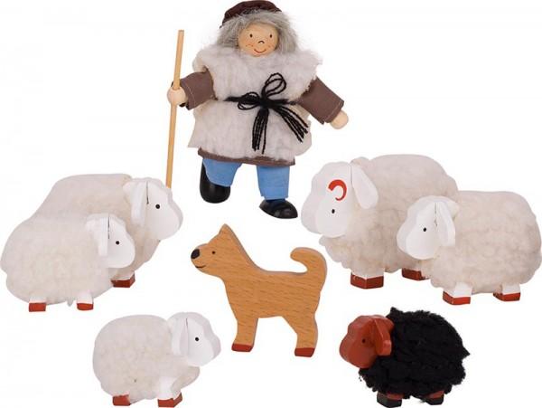Puppenhaus-Puppen Schäfer mit Herde