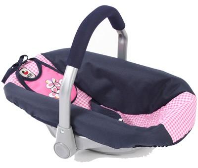 Puppenautositz mit Lätzchen (Pink Checker)