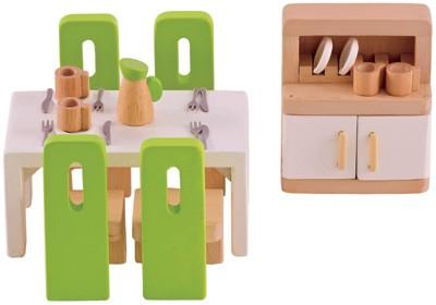 Puppenhaus Modernes Esszimmer (Natur-Grün)