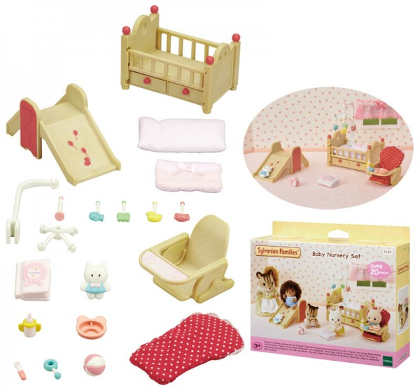 Sylvanian Families Babyzimmer mit Rutsche und Hochstuhl