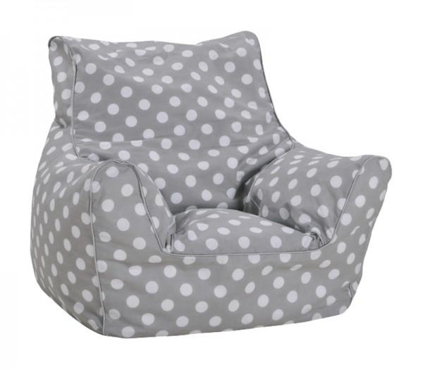 Kindersitzsack Punkte Softsessel (Dots Grey)