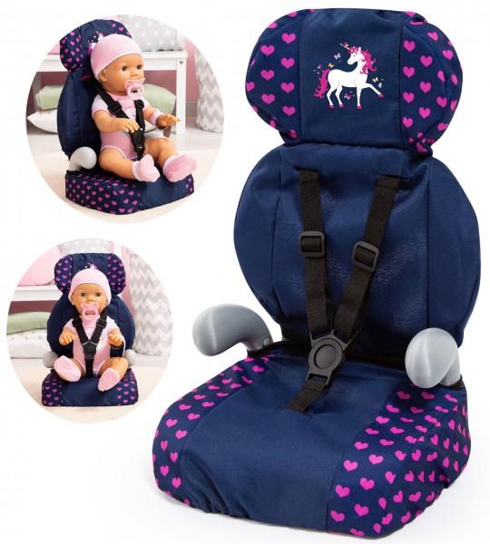Puppen-Autositz Deluxe Einhorn (Blau-Pink)