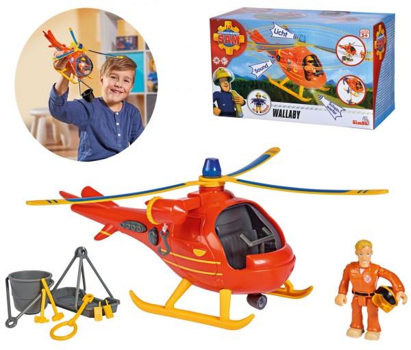Feuerwehrmann Sam Hubschrauber Wallaby mit Figur (Rot)