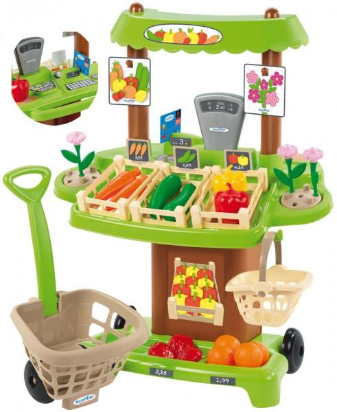 Marktstand mit Einkaufstrolley (Grün-Braun)