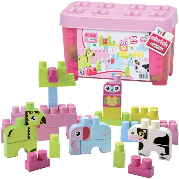 Abrick Box mit Tier Maxi-Bausteinen (Rosa)