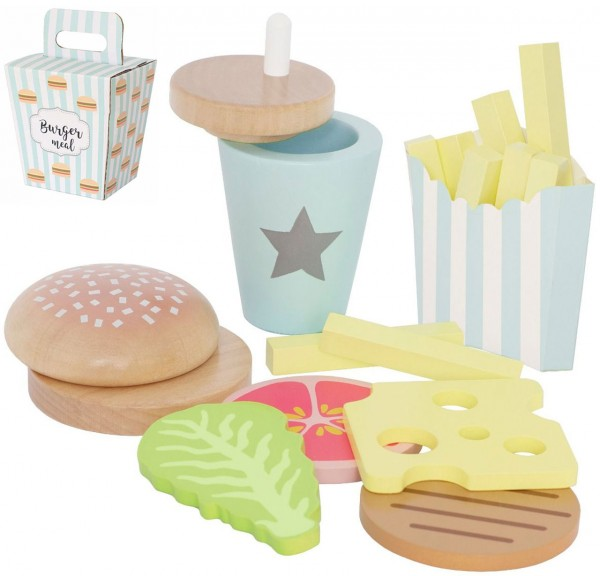 Hamburger Set aus Holz für Spielküche (Pastell)