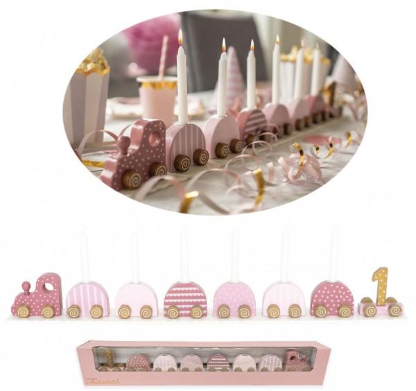 Geburtstagszug mit Zahlen Mädchen (Pastell Rosa)