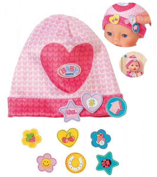 Baby Born Mütze mit Batches Herz 43 cm (Pink-Rosa)