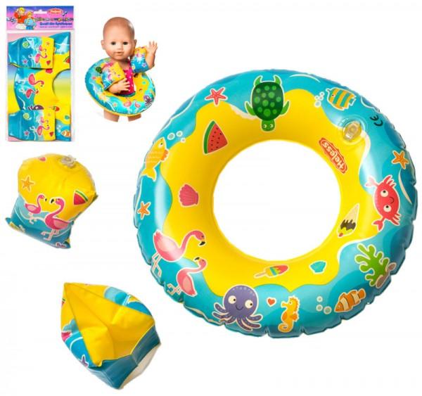 Schwimmreifen und Schwimmflügel für Puppen (Gelb)