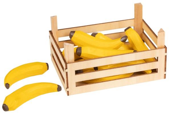 Holzkiste mit Bananen