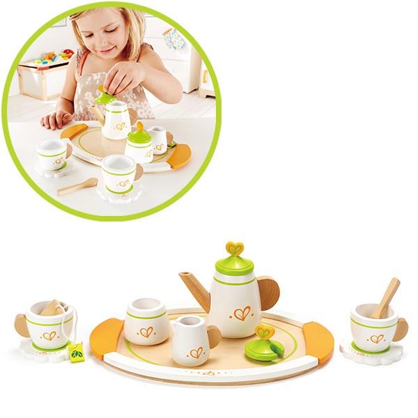 Teeservice für Zwei aus Holz (Weiß-Grün)