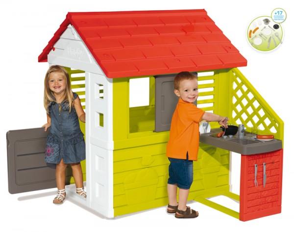 Spielhaus Natur Haus mit Sommer-Spielküche (Rot-Grün)