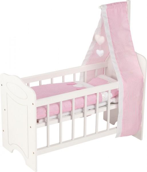 Puppenbett mit Himmel und Bettzeug (Weiß-Rosa)