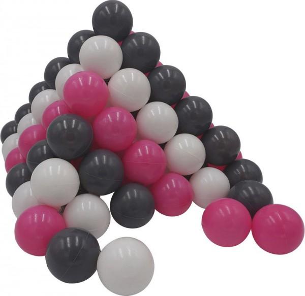 100 Spielbälle im Netz (Pink-Weiß-Grau)