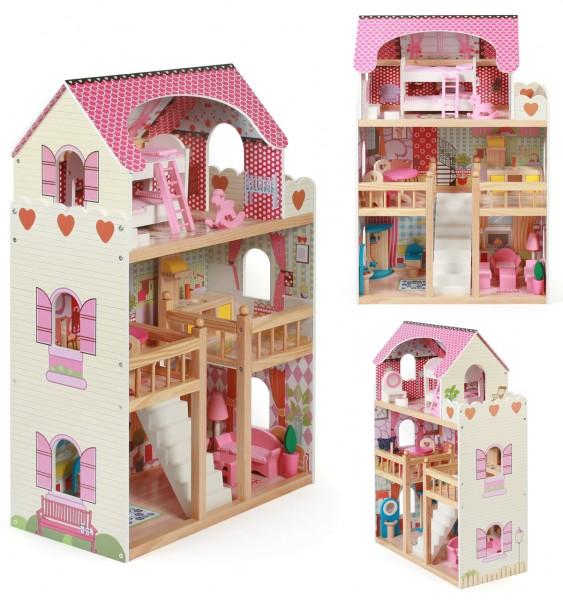 Puppenhaus Mia aus Holz mit 3 Etagen und Möbeln (Pink)