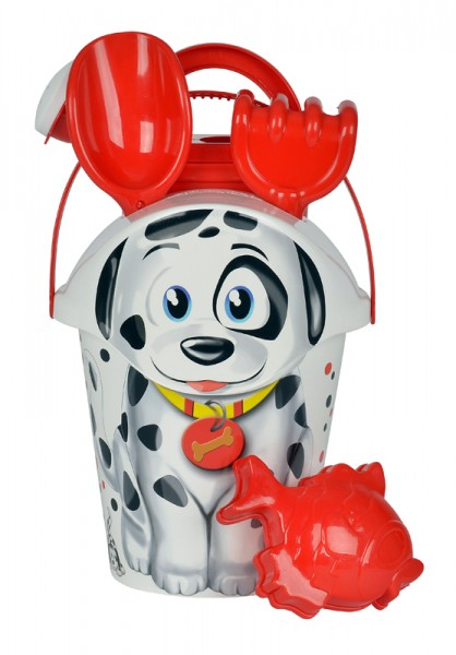 6-teiliges Tier-Eimergarnitur Hund Dalmatiner (Weiß-Rot)