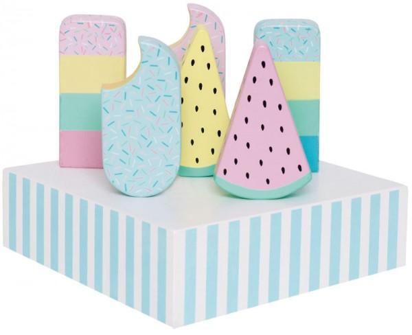 6 Eis am Stiel aus Holz mit Ständer (Pastell)