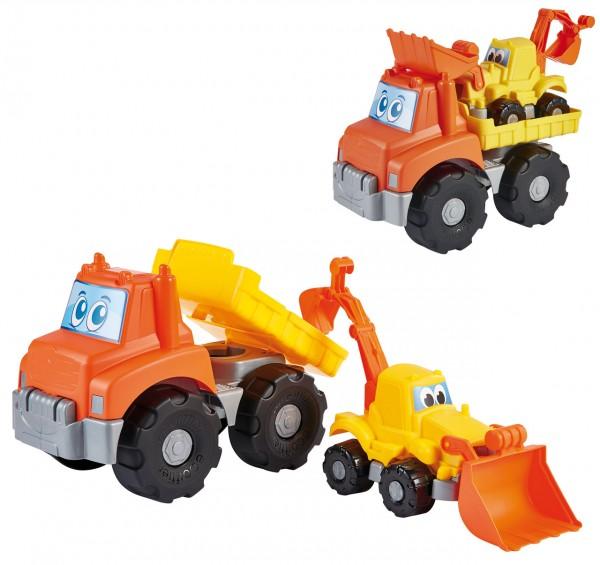 Sandfahrzeug Transporter mit Bagger für Sandkiste (Gelb-Orange)