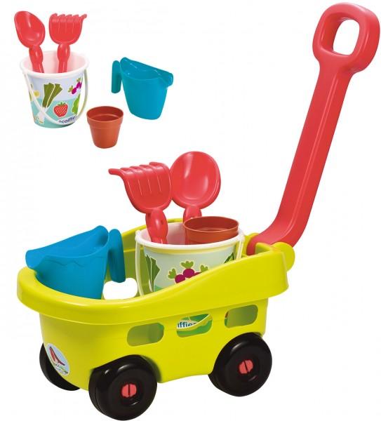Handwagen mit Garten- und Sandspielzeug (Grün-Petrol)