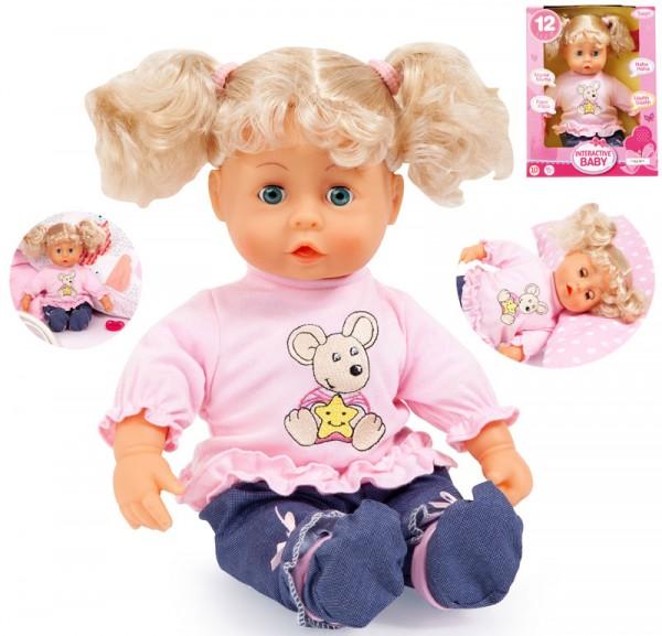 Funktionspuppe Interactive Baby Mädchen mit Haaren 38 cm (Blond)