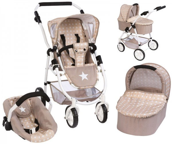 Puppenwagen Emotion All In 3in1 Sternchen (Beige-Braun)