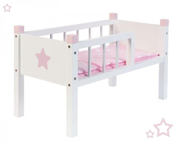 Puppenbett Sternchen aus Holz Stapelbar (Weiß-Rosa)