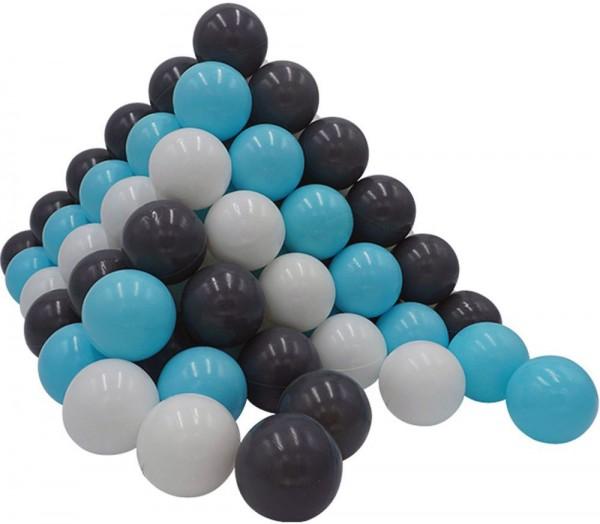 100 Spielbälle im Netz (Hellblau-Weiß-Grau)