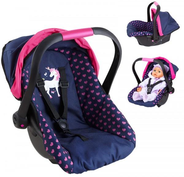 Puppen-Autositz mit Dach Einhorn (Blau-Pink)