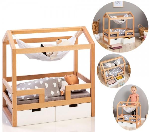 Puppen-Hausbett Barlia mit Hängematte (Natur-Weiß)