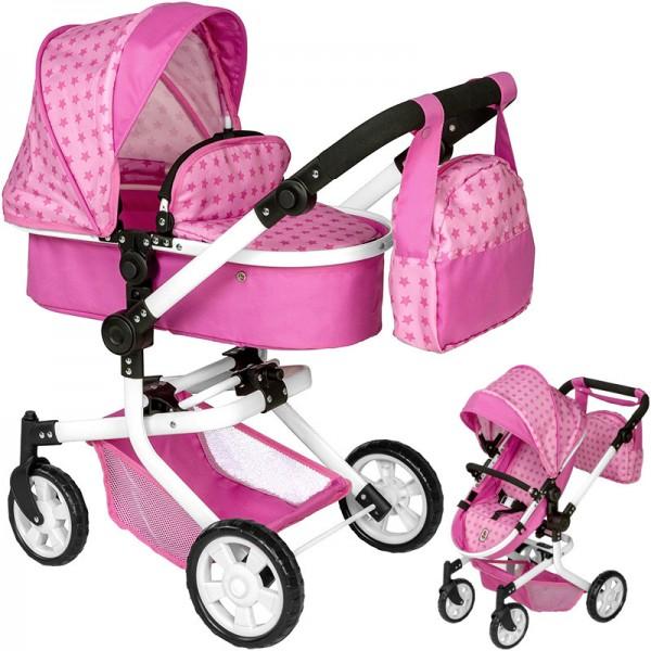 Puppenwagen Mika 2in1 Sternchen mit Wickeltasche (Rosa-Pink)