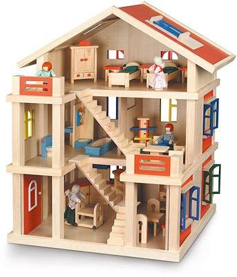 Möbliertes 3-stöckiges Puppenhaus