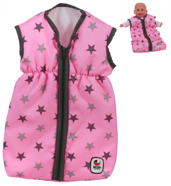 Puppenschlafsack (Sternchen Grau-Rosa)