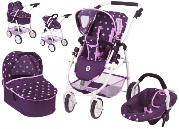 Puppenwagen Emotion All In 3in1 (Stars Lila)