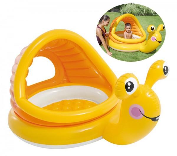 Baby-Pool Schnecke mit Sonnendach & aufblasbaren Boden