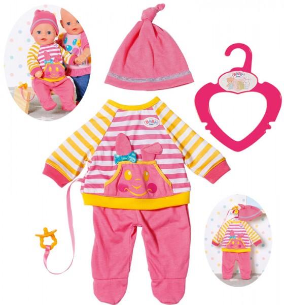 Baby Born Kleines Freizeit Outfit 36 cm mit Schnuller (Rosa-Gelb)