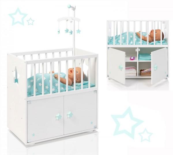 Puppenbett mit Schrank und Mobile Sternchen (Weiß-Mint)