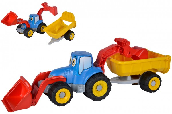 Sandspielzeug Traktor mit Anhänger 54 cm (Rot-Blau)