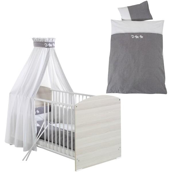 Bettset Kinderbettwäsche mit Nestchen und Himmel Lovely Amigos (Weiß-Grau)