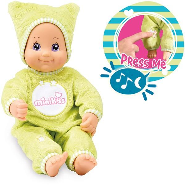 Minikiss Gute Nacht Puppe mit Licht und Musik (Grün)