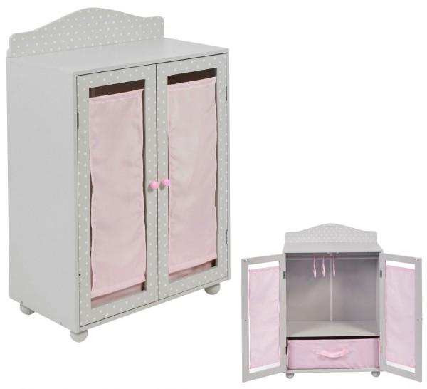 Puppenkleiderschrank mit Stoffbox Puntos Grey (Rosa-Grau)