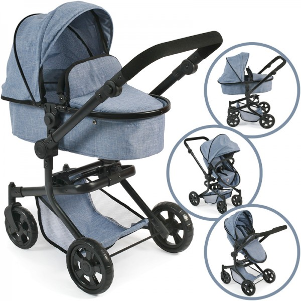 Puppenwagen Mika 2in1 (Jeans Blue)