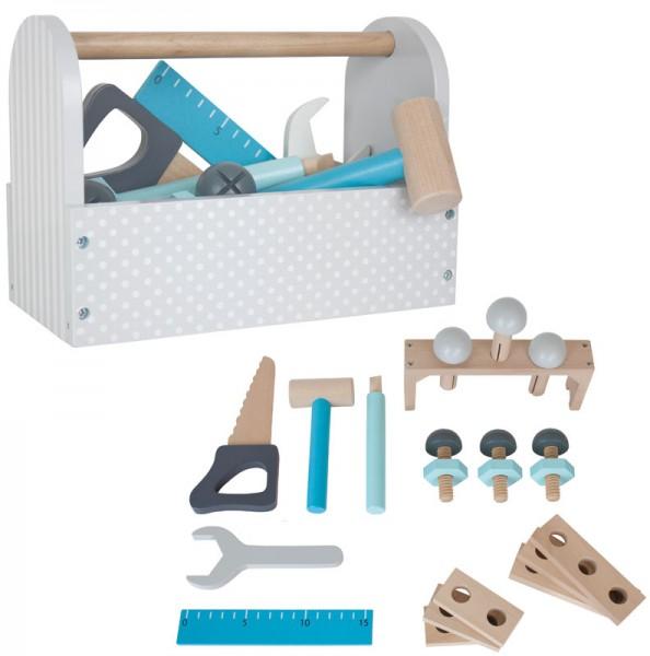 Werkzeugkiste mit Werkzeug aus Holz (Grau-Blau)
