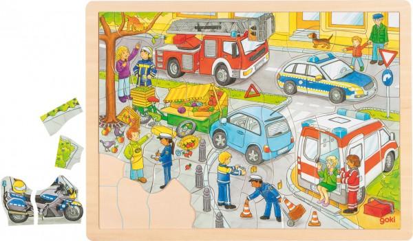Einlegepuzzle aus Holz Polizeieinsatz (56 teilig)