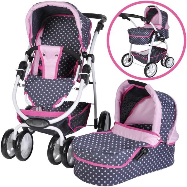 Puppenwagen Coco 2in1 (Ocean Pink Dots)