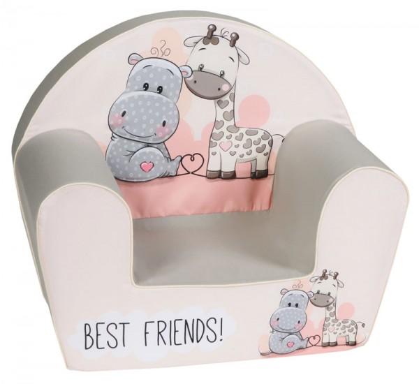 Kindersessel Best Friends (Grau-Beige-Rose)