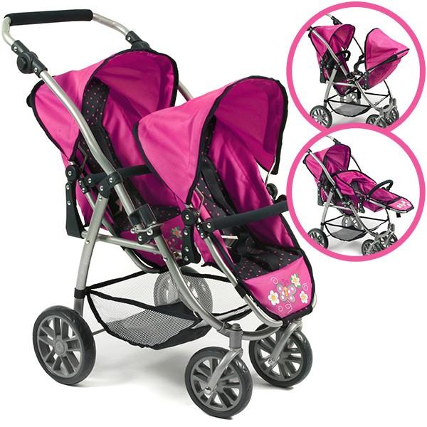 Zwillingspuppenwagen Tandem-Buggy Vario (Dots Navy-Pink)