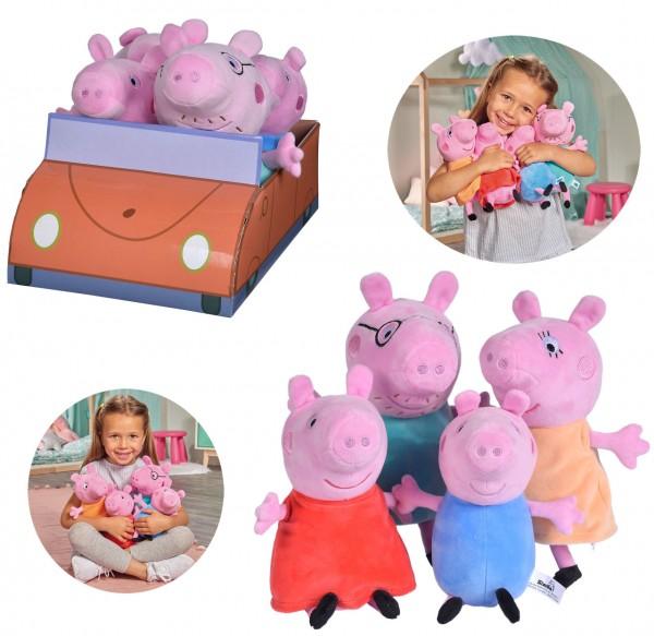Peppa Pig 4-tlg. Familienset Plüschfigur im Auto