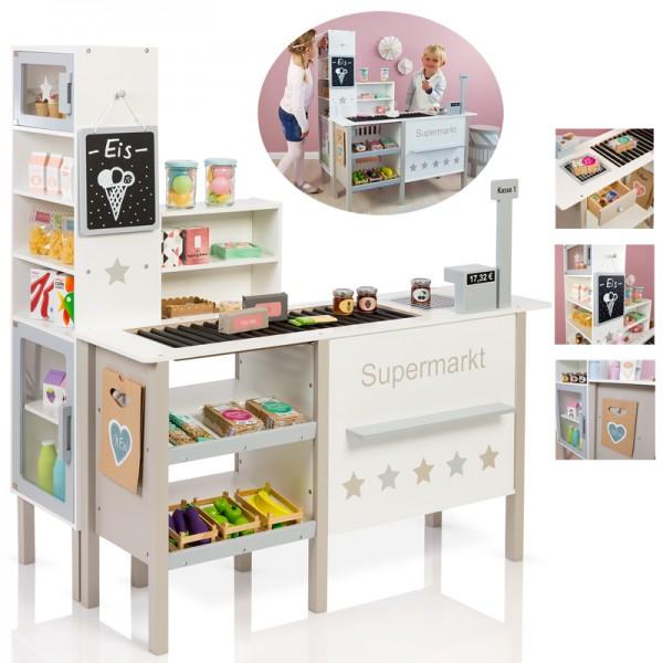 Kaufmannsladen Supermarkt Alnus 5 Sterne Deluxe (Weiß-Grau-Beige)
